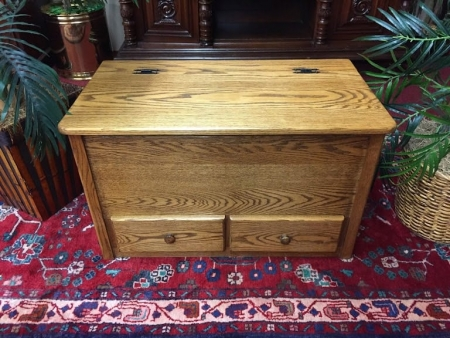 Oak Blanket Chest with Two Drawers