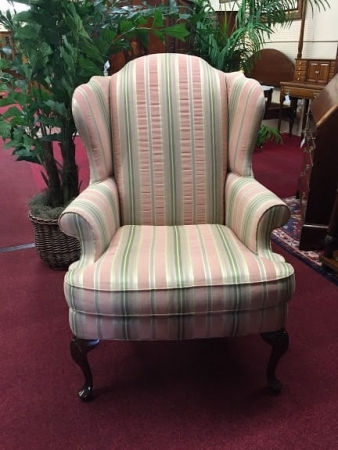 Sherrill Furniture Striped Wing Back Chair