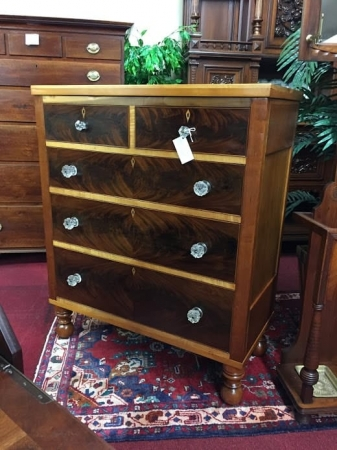 Antique Cherry Maple and Mahogany Chest