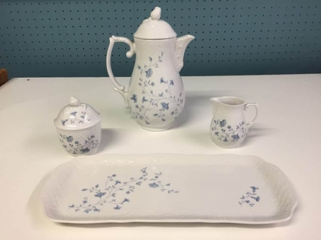 Blue and White Tea Pot, Creamer, Sugar Bowl and Tray