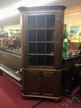Custom Twelve Pane Corner Cabinet