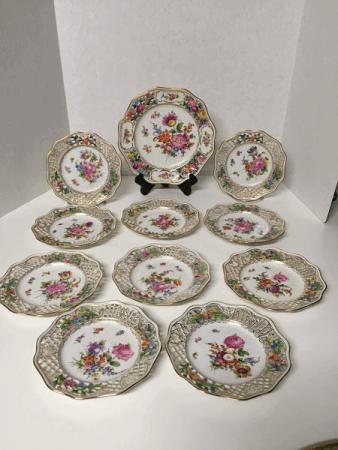 Dresden Reticulated Dessert Plate Set
