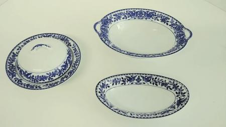 "Nippon ""Royal Sometuke"" Serving Dishes - Set of Three"