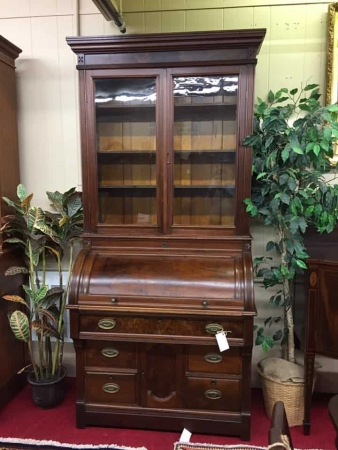 Antique Cylinder Roll Top Desk Secretary With Bookcase