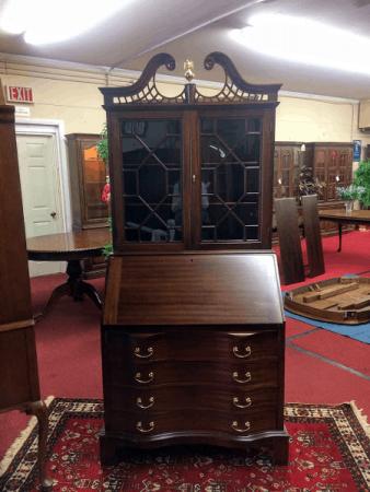 Maddox Mahogany Secretary Desk with Bookcase Top