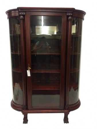 Antique Mahogany Paw Foot Bow-front China Cabinet