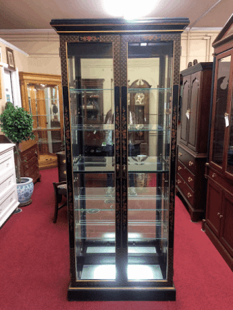 Oriental Style Curio Cabinet, Chinoiserie Cabinet