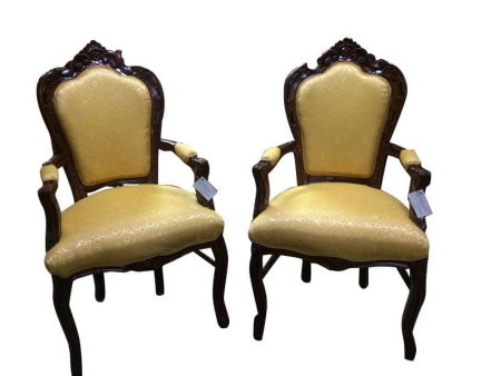 Gold French Provincial Arm Chairs