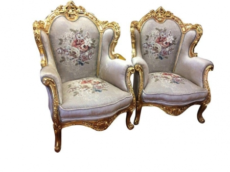 Vintage Gilded Versace Style Arm Chairs