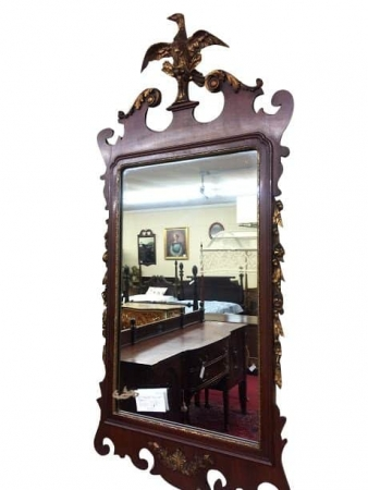 Vintage Mahogany Chippendale Mirror with Phoenix