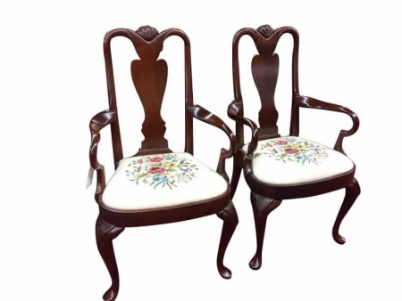 Mahogany Shell Carved Mahogany Queen Anne Arm Chairs