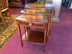 SOLD - Leather Top Nesting Tables $199